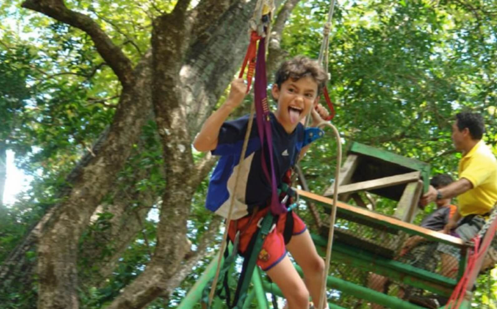 Tamarindo Guanacaste Costa Rica zipline canopy tour group kid making funny face