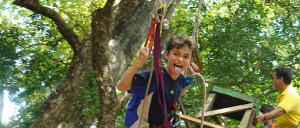 Tamarindo Guanacaste Costa Rica zipline canopy tour group kid making funny face