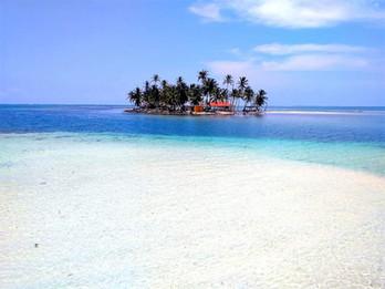 Typical San Blas island with palms