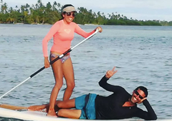 Couple on SUP paddle board San Blas