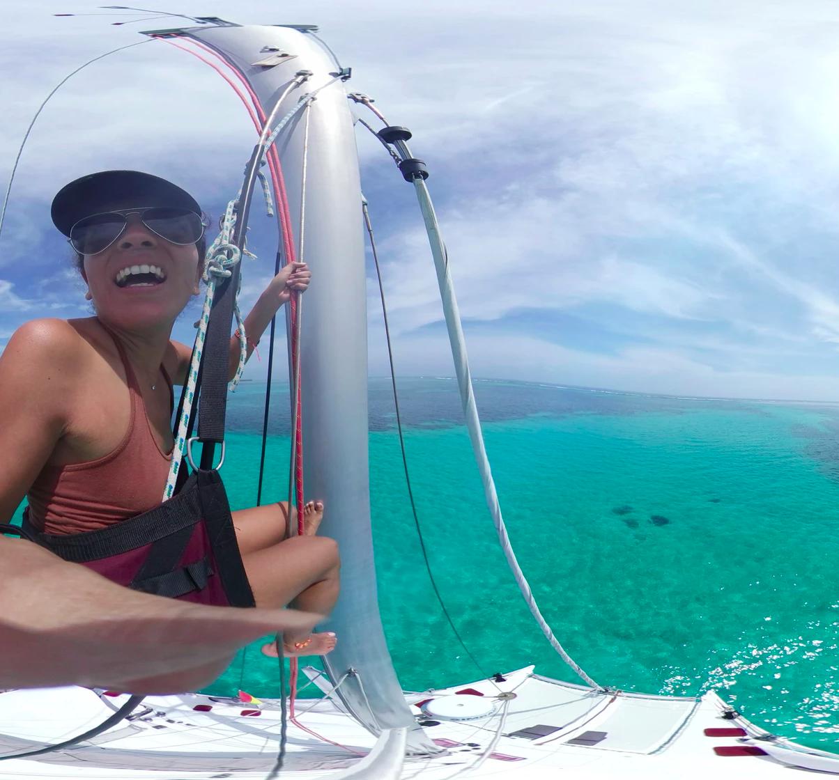 Smiling Marie climbing mast San Blas