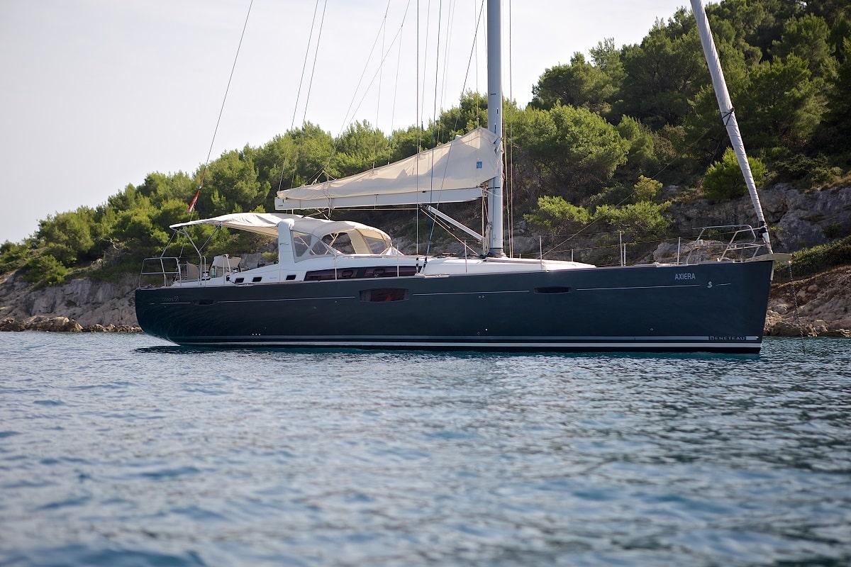 Queen Axiera anchored in Croatia