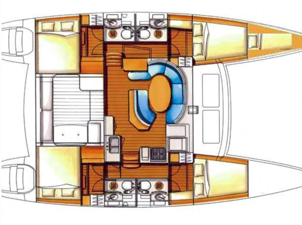 Layout of Lagoon 410 S2 catamaran