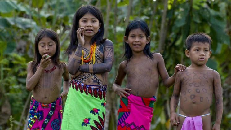 Embera tribe kids in Darien Jungle