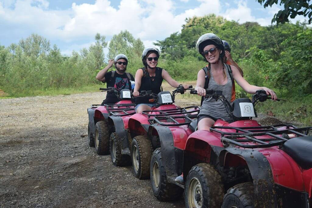 Costa Rica ATV adventure group on forest trail