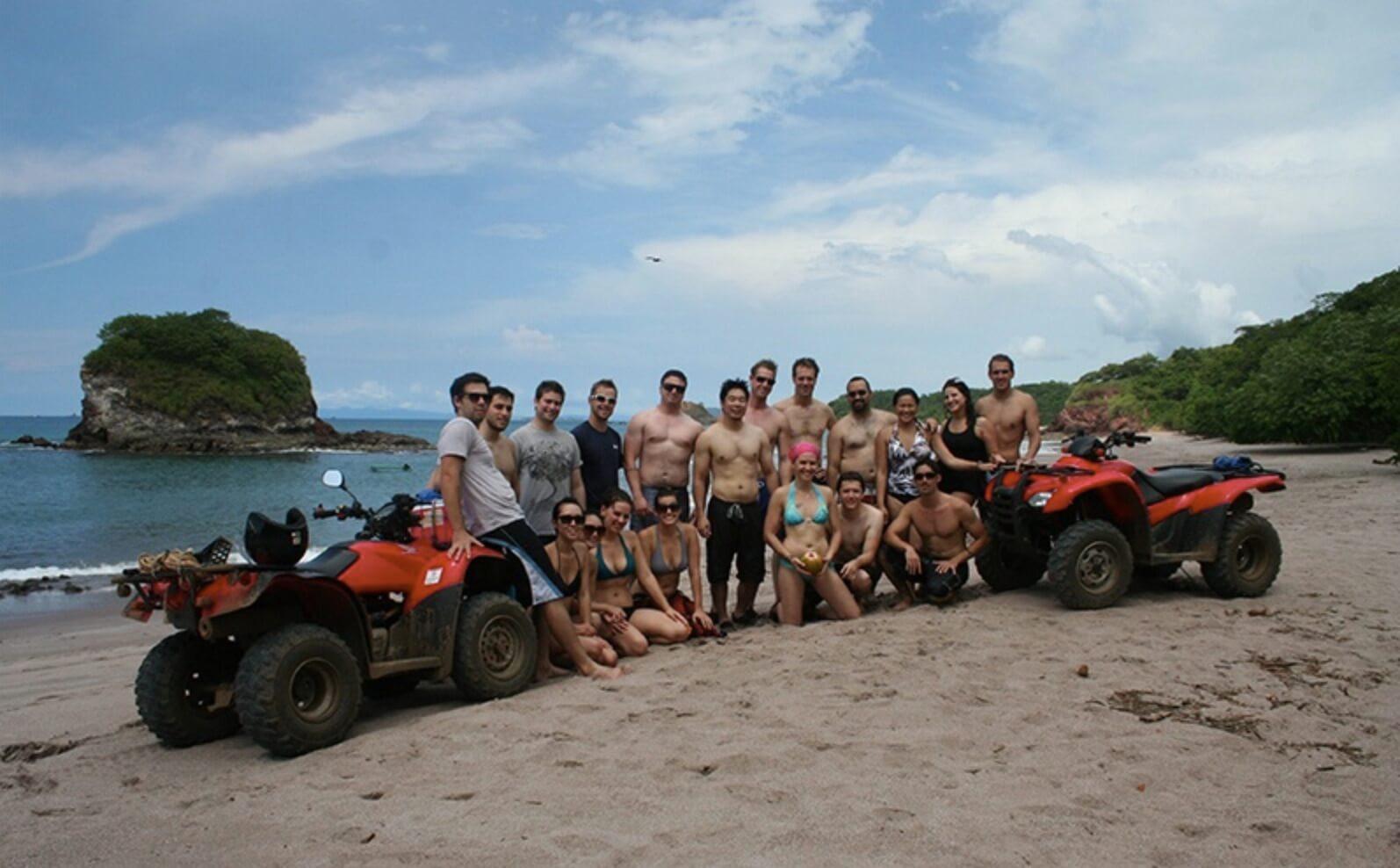 Tamarindo Guanacaste ATV adventure tour group relaxing on the beach