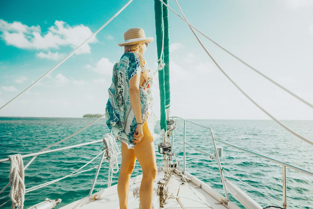 Woman in San Blas on sailboat charter watching the ocean