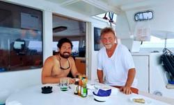 Captain with guest San Blas boat