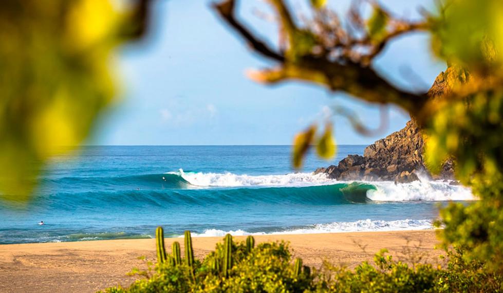 Salina Cruz Surf Camp amazing shot of breaking waves and pristine beach