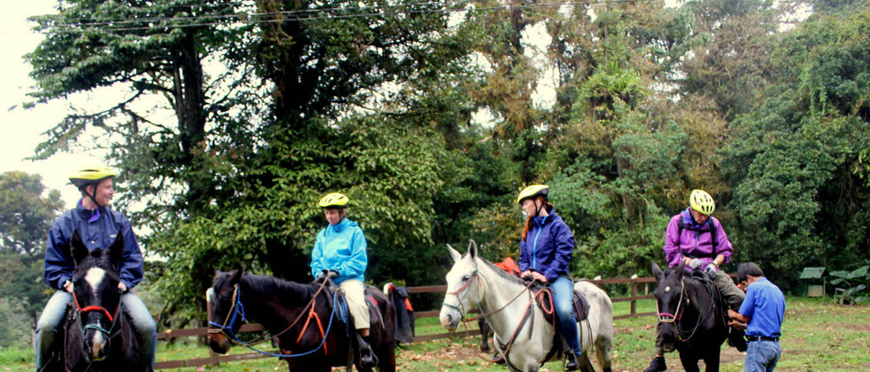 Monteverde Costa Rica guided Horseback riding tour receiving instructions from tour guide