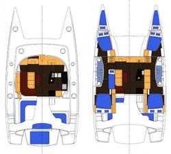 Salina 48 catamaran layout 4 cabin