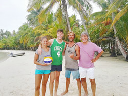 Island beach volleyball with family