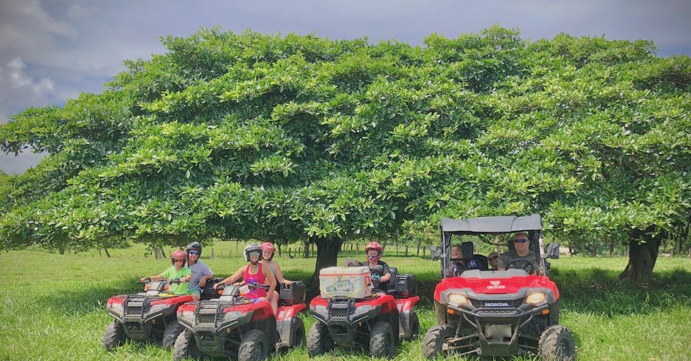 Costa Rica ATV adventure group in front of