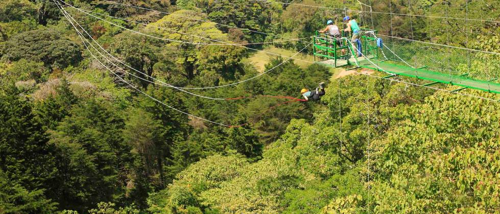 Monteverde Costa Rica zipline adventure guests jumping off tarzan swing