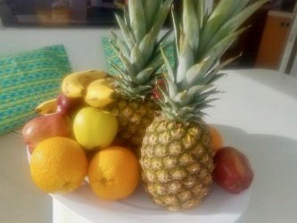Fruit on plate Pineapple banana