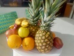 Fruit on plate Pineapple banana