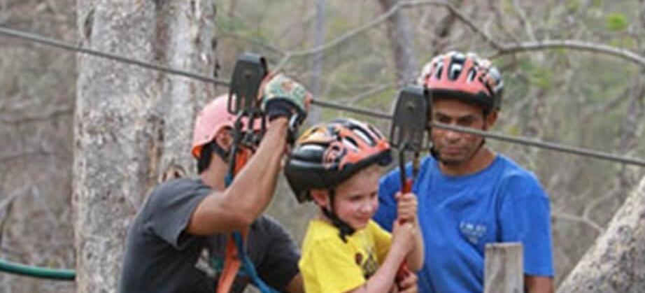 Tamarindo Guanacaste Costa Rica zipline canopy tour group parent with child