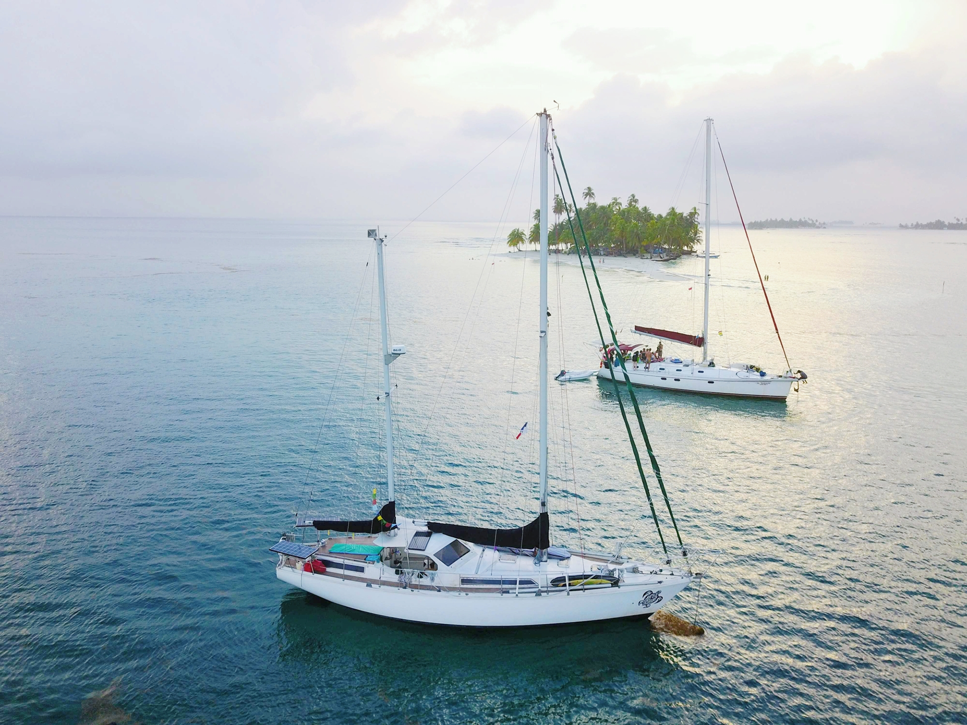 Aerial drone Amel Maramu sailboat