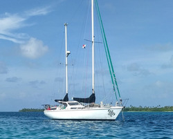 Kailani sailboat anchored in Tahiti