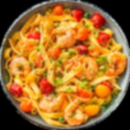 01.Fettuccine con camarones y crema acid