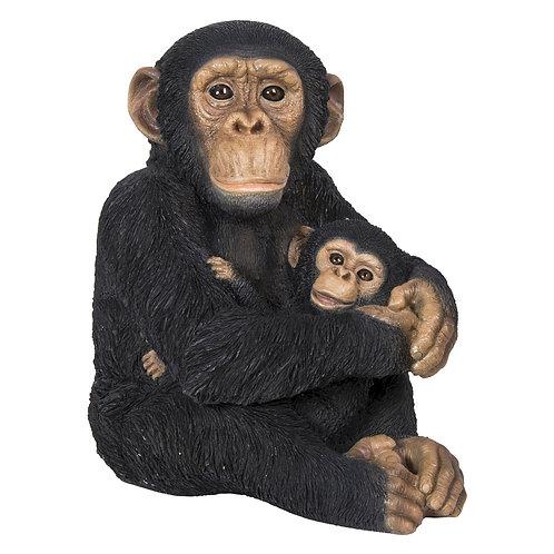 Statue Faune chimpanzé avec bébé - Sélection Touzeau