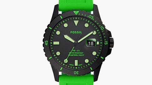 Montre FB-01 à trois aiguilles avec date en silicone vert fluo