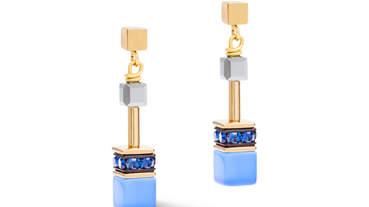 Boucles d'oreille GeoCUBE® bleu-or