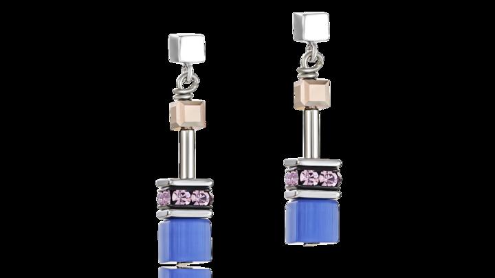 Boucles d'oreille GeoCUBE® bleu-marron-lilas