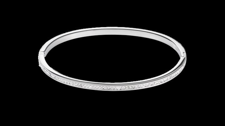 Bracelet acier argent & Pavé de Cristaux cristal 17