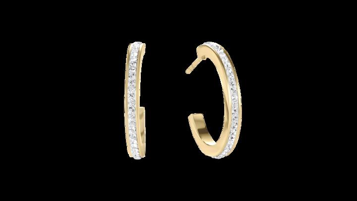 Boucles d'oreille créole 20 acier or & Pavé de Cristaux cristal