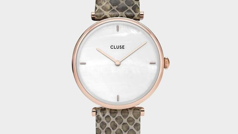 Triomphe Leather Almond Python, Rose Gold Colour