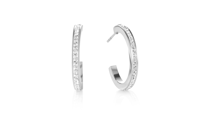 Boucles d'oreille créole 20 acier argent & Pavé de Cristaux cristal