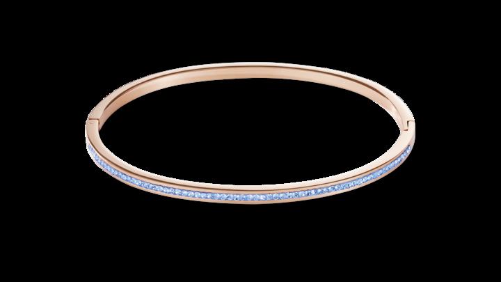 Bracelet étroit acier or rose & Pavé de Cristaux bleu claire