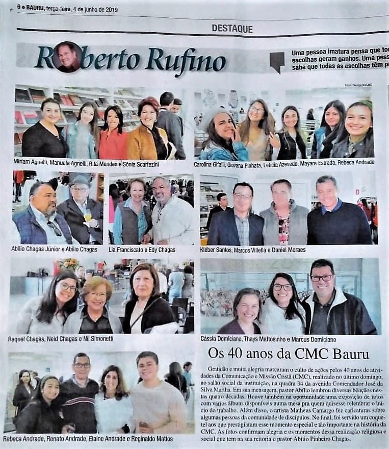 Coluna de Roberto Rufino - Jornal da Cidade de Bauru, 04.06.2019