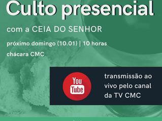 Ceia do Senhor neste domingo (10.01), presencial e com transmissão ao vivo