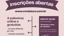 Inscrições abertas para palestras online e gratuitas