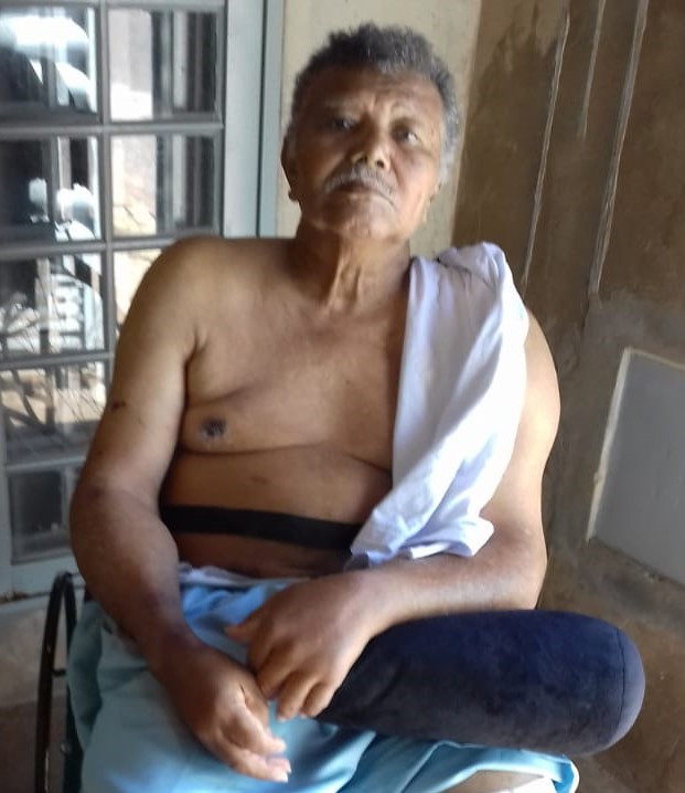 Uma das últimas fotos do pastor Ramão, dias após a amputação da sua perna esquerda