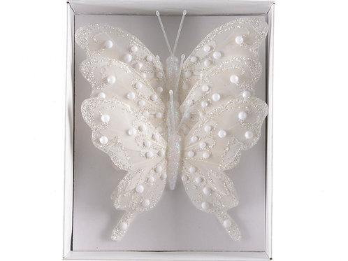 Set 3 mariposas blanca glitter