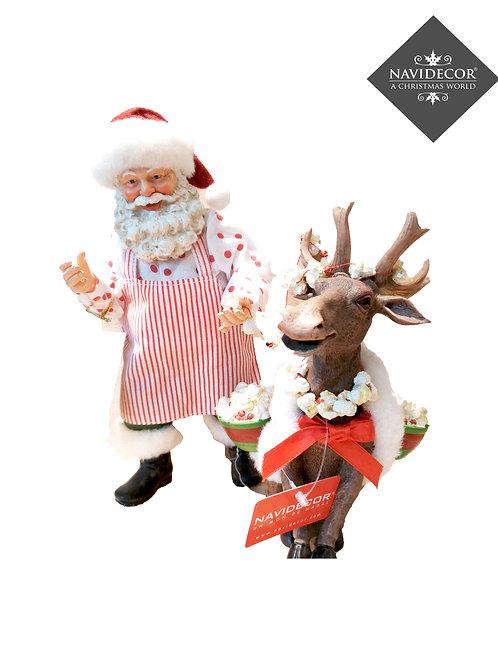Papa Noel y reno con palomitas