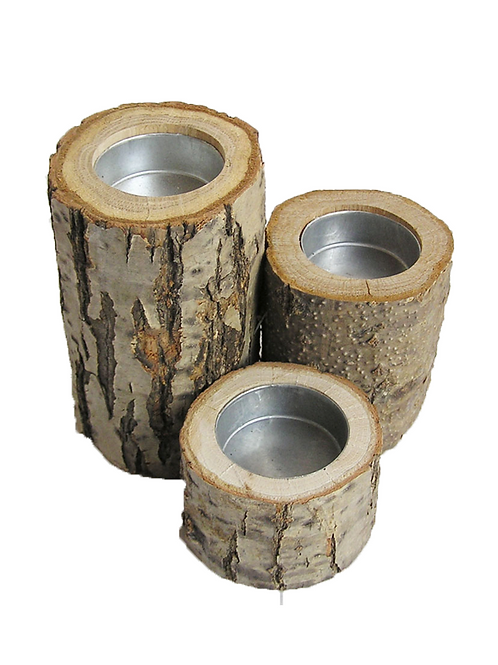 Portavelas tronco natural