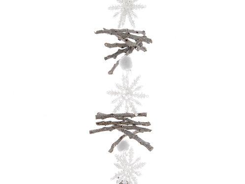 Guirnalda rama con copos de nieve
