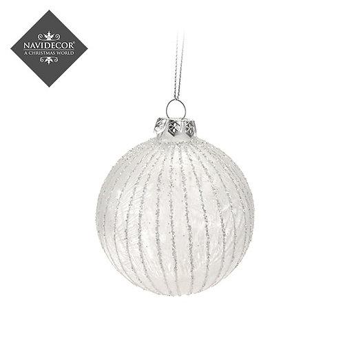Set 2 Bolas cristal plata o blanco con lineas brillantes