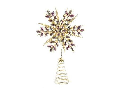 Punta árbol snowflake dorada