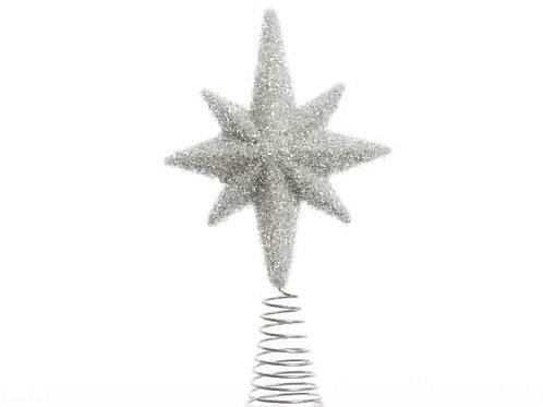Estrella punta árbol acabado hielo