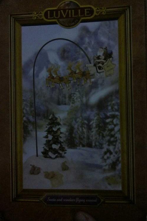 Santa and reindeer flying around