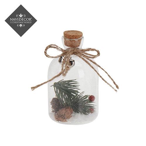 Botellita cristal para colgar con ramas