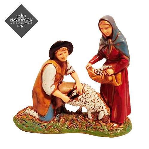 Campesinos con oveja