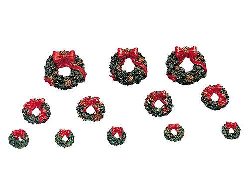 Set 12 coronas con lazo rojo