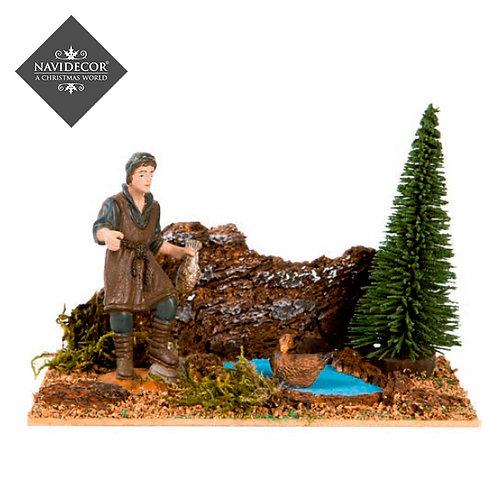 Escena pastor con patos 8cm