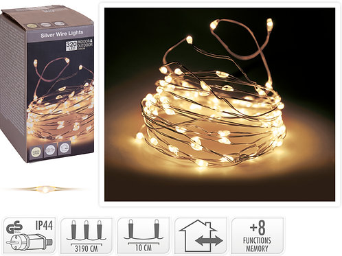 HILO PLATA 320 MICRO LEDS 8 FUNCIONES